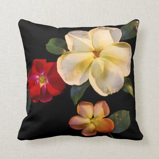 Real fake flowers throw pillow