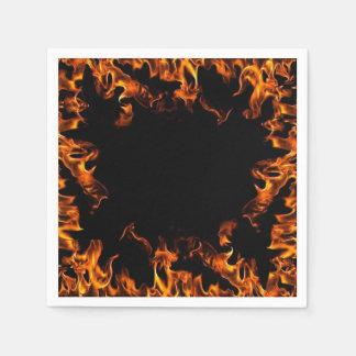 real fire flame napkins orange yellow black standard cocktail napkin