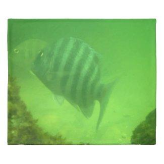 Real Fish Swimming in Green Ocean Photo Print Duvet Cover