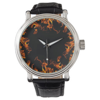 real flame fire vintage style watch orange yellow