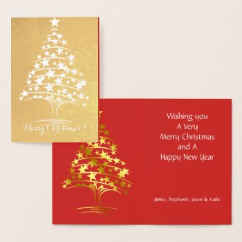 Real Foil Christmas Tree of Stars Holiday Greeting Foil Card