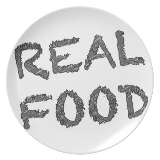 Real Food - Black and Grey Writing Dinner Plate