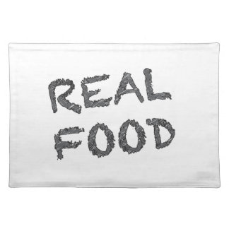 Real Food - Grey and Black Writing Placemat