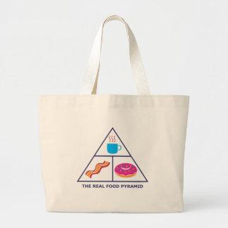 Real Food Pyramid - Coffee, Bacon, Donuts Large Tote Bag