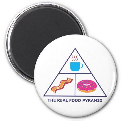 Real Food Pyramid - Coffee, Bacon, Donuts Magnets