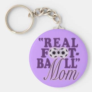 Real Football Mom (purple) Keychains