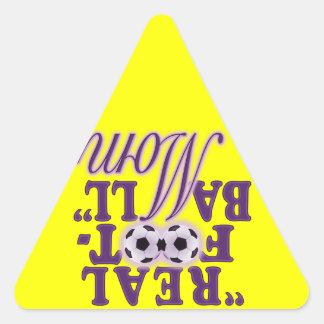 Real Football Mom (purple) Triangle Sticker