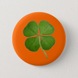 Real Four Leaf Clover Pinback Button