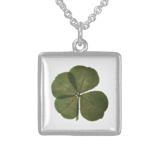 Real four leaves clover St patrick - Get Lucky - Square Pendant Necklace