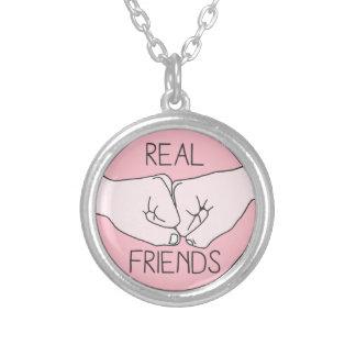 Real Friend Fist Bump Round Pendant Necklace