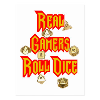 Real Gamers Roll Dice Postcard