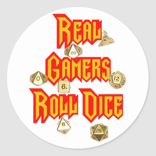 Real Gamers Roll Dice Round Stickers