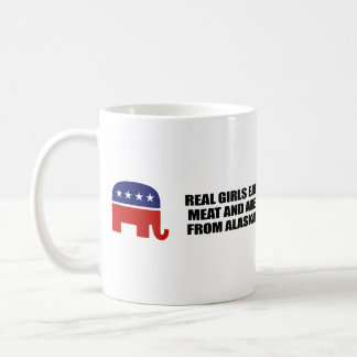 REAL GIRLS EAT MEAT AND ARE FROM ALASKA CLASSIC WHITE COFFEE MUG