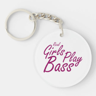 Real Girls Play Bass 2 purple.png Double-Sided Round Acrylic Keychain