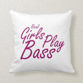 Real Girls Play Bass 2 purple Throw Pillow