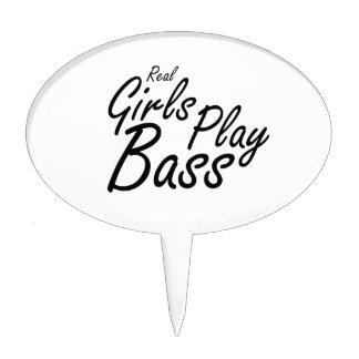 Real Girls Play Bass black Cake Topper