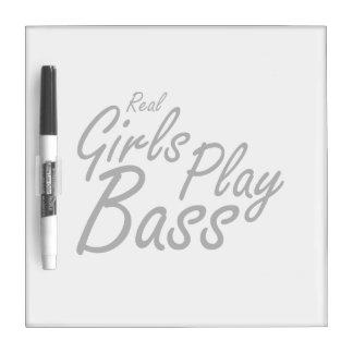 Real Girls Play Bass black Dry-Erase Board