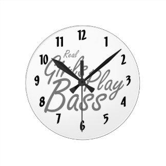 Real Girls Play Bass black Round Clock