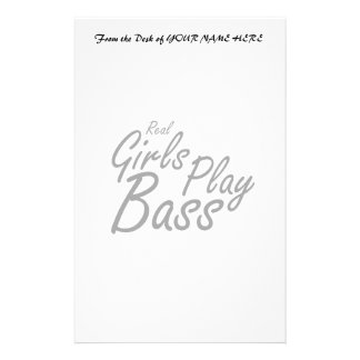 Real Girls Play Bass black Stationery