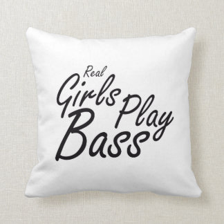 Real Girls Play Bass black Throw Pillow