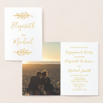Real Gold Foil Engagement Party Invite Photo