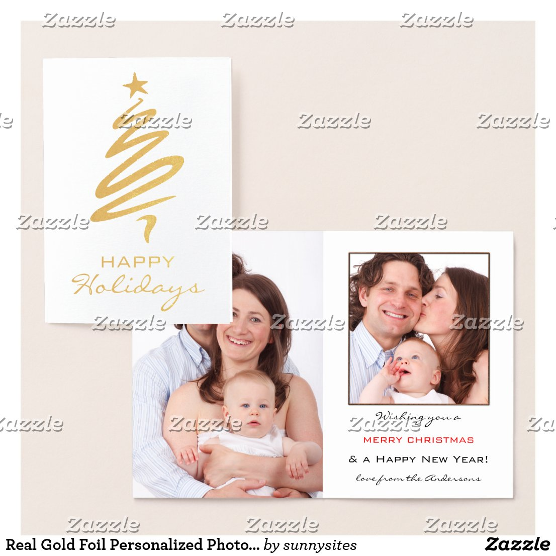 Real Gold Foil Personalized Photo Holiday Card