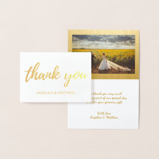 Real Gold Foil Thank You Wedding | With Photo Foil Card at Zazzle