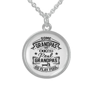 Real Grandpas Go Play Pool Sterling Silver Necklace