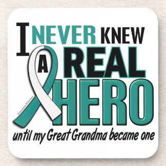 Real Hero 2 Great Grandma Cervical Cancer Beverage Coaster