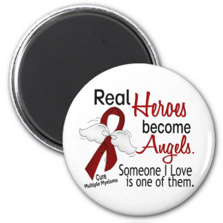 Real Heroes Become Angels Multiple Myeloma 2 Inch Round Magnet