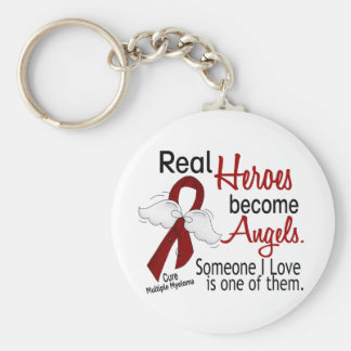 Real Heroes Become Angels Multiple Myeloma Basic Round Button Keychain
