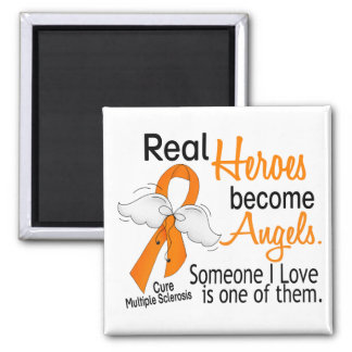 Real Heroes Become Angels Multiple Sclerosis 2 Inch Square Magnet