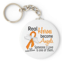 Real Heroes Become Angels Multiple Sclerosis Keychain