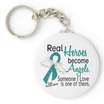Real Heroes Become Angels Ovarian Cancer Basic Round Button Keychain