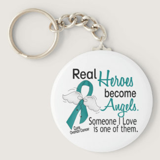 Real Heroes Become Angels Ovarian Cancer Keychain