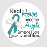 Real Heroes Become Angels Ovarian Cancer Classic Round Sticker