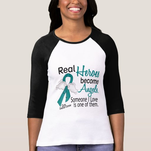 Real Heroes Become Angels Ovarian Cancer T Shirt