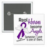 Real Heroes Become Angels Pancreatic Cancer 2 Inch Square Button
