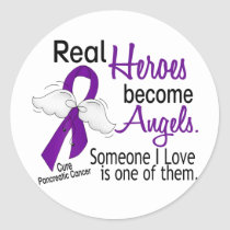 Real Heroes Become Angels Pancreatic Cancer Classic Round Sticker