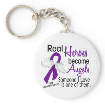 Real Heroes Become Angels Pancreatic Cancer Keychain