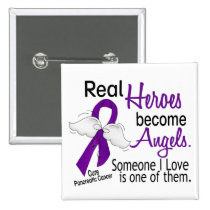 Real Heroes Become Angels Pancreatic Cancer Pinback Button