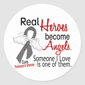 Real Heroes Become Angels Parkinson's Disease Classic Round Sticker
