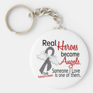 Real Heroes Become Angels Parkinson's Disease Keychain