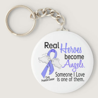 Real Heroes Become Angels Prostate Cancer Keychain