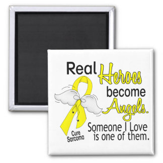 Real Heroes Become Angels Sarcoma 2 Inch Square Magnet