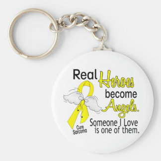 Real Heroes Become Angels Sarcoma Keychain
