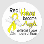 Real Heroes Become Angels Sarcoma Classic Round Sticker