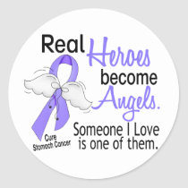 Real Heroes Become Angels Stomach Cancer Classic Round Sticker