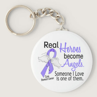 Real Heroes Become Angels Stomach Cancer Keychain