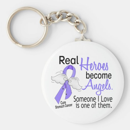 Real Heroes Become Angels Stomach Cancer Keychains